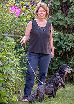 Eileen Mather and her dogs